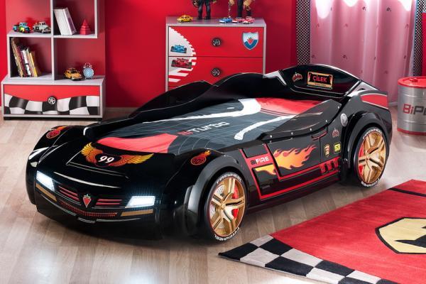 Кровать машина bi turbo черная